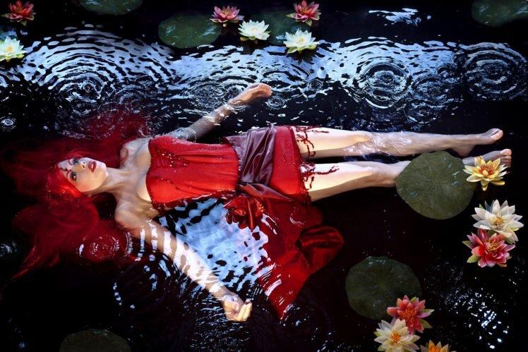 model, Ripples, Water lilies, Redhead, Water, Red dress HD Wallpaper Desktop Background