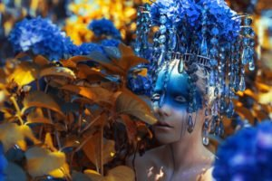 model, Fashion, Face paint, Leaves, Crystal, Headdress, Blue flowers