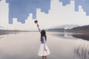 women, Photo manipulation, Blue, Nature, Landscape, Skirt, Lake, Brunette