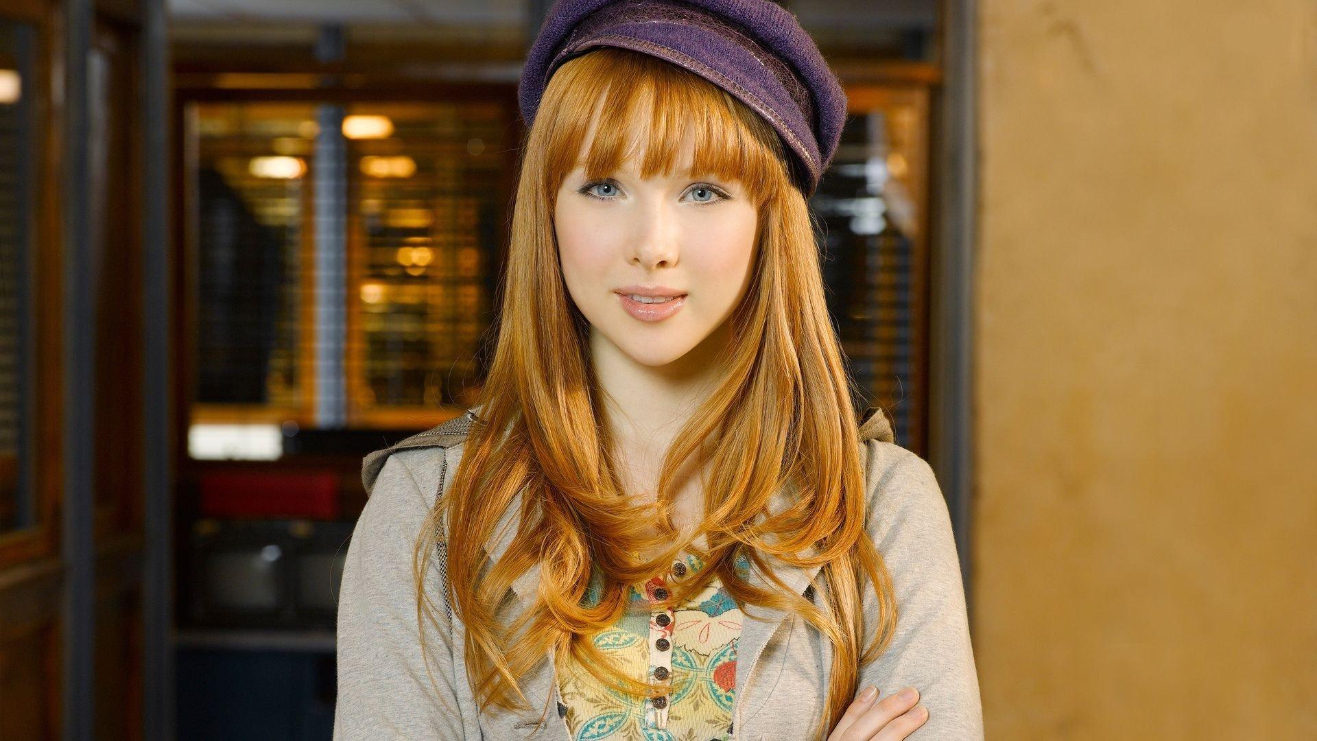 model, Redhead, Anime, Actress, Women, Face, Portrait, Smiling, Long hair, Blue eyes, Castle (TV series), Molly Quinn Wallpaper