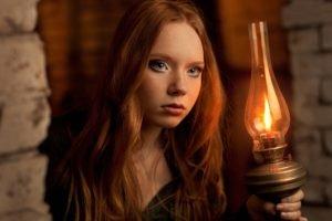 women, Model, Redhead, Long hair, Face, Blue eyes, Freckles, Gas lamps, Fire, Bricks
