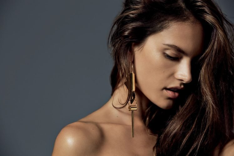 women, Model, Brunette, Face, Open mouth, Alessandra Ambrosio, Long hair, Simple background HD Wallpaper Desktop Background