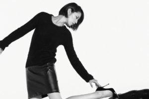Masami Nagasawa, Asian, High heels, Short hair, Black clothing, Leather skirts
