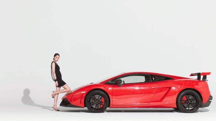 Masami Nagasawa, Asian, Women with cars, Red cars, Black dress, Simple background, High heels HD Wallpaper Desktop Background