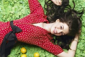 Anne Hathaway, Women, Polka dots, Lemons, Actress, Brunette, Smiling, Lying on back, Bangles