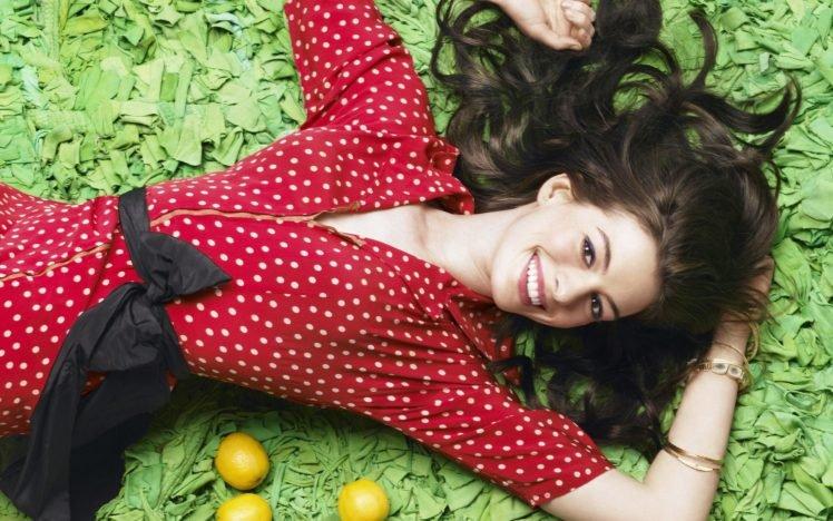 Anne Hathaway, Women, Polka dots, Lemons, Actress, Brunette, Smiling, Lying on back, Bangles HD Wallpaper Desktop Background