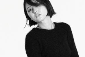 Masami Nagasawa, Asian, Women, Black tops, Bangs, Simple background