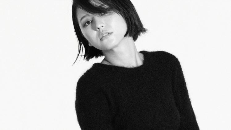 Masami Nagasawa, Asian, Women, Black tops, Bangs, Simple background HD Wallpaper Desktop Background