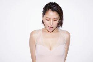 Masami Nagasawa, Looking down, White tops, White background, Asian, Women