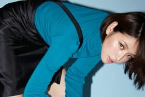 Masami Nagasawa, Bending over, Asian, Women, Short hair, Brunette, Looking at viewer, Turtlenecks