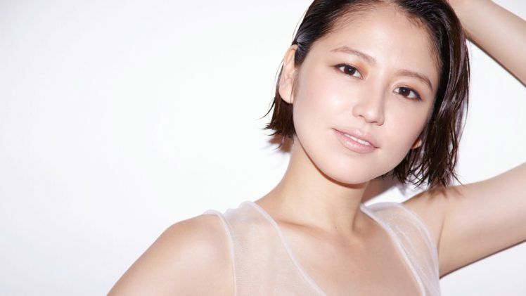 Masami Nagasawa, Asian, Women, Short hair, White background, Smiling HD Wallpaper Desktop Background