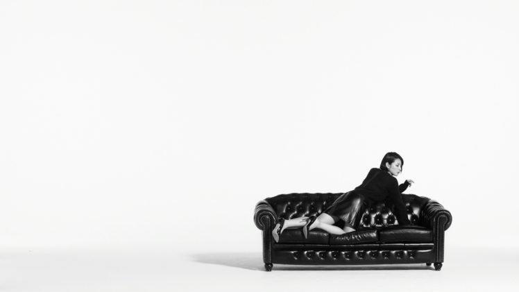 Masami Nagasawa, Simple background, Couch, Women, Asian HD Wallpaper Desktop Background
