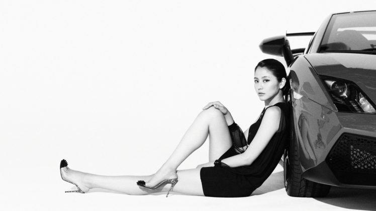 Masami Nagasawa, Sitting, Women with cars, Looking at viewer, Women, Asian, Car HD Wallpaper Desktop Background