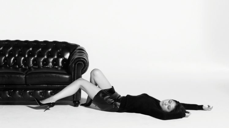 Masami Nagasawa, Lying down, Couch, Simple background, Black clothing, Asian, Women, Closed eyes, High heels HD Wallpaper Desktop Background