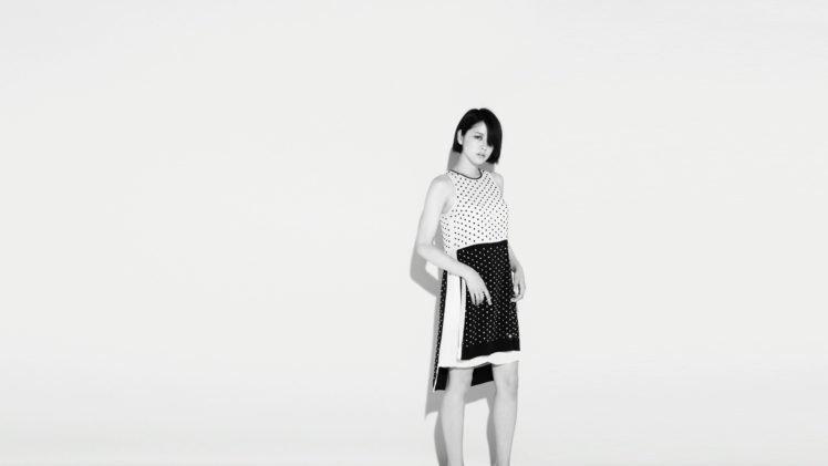 Masami Nagasawa, Simple background, White background, Asian, Women, Polka dots HD Wallpaper Desktop Background