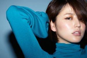 Masami Nagasawa, Blue background, Asian, Women, Brunette, Bangs, Sensual gaze, Turtlenecks