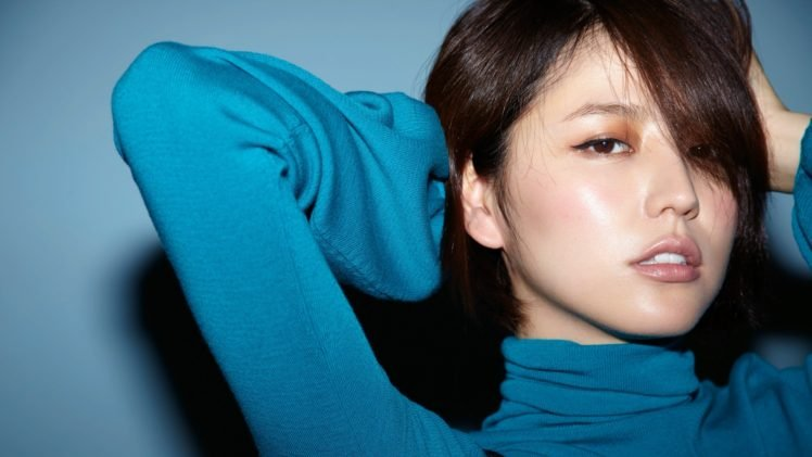 Masami Nagasawa, Blue background, Asian, Women, Brunette, Bangs, Sensual gaze, Turtlenecks HD Wallpaper Desktop Background
