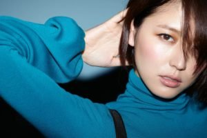 Masami Nagasawa, Women, Asian, Hair in face, Short hair, Arms up, Turtlenecks