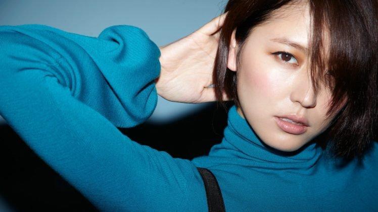 Masami Nagasawa, Women, Asian, Hair in face, Short hair, Arms up, Turtlenecks HD Wallpaper Desktop Background
