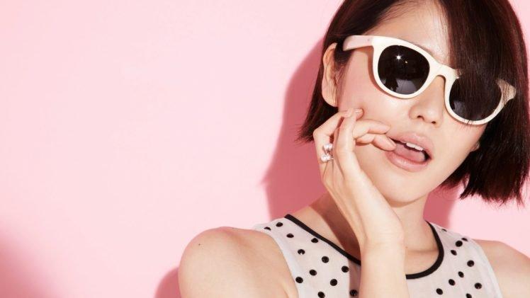 Masami Nagasawa, Sunglasses, Finger on lips, Asian, Women, Short hair, Polka dots, Pink background, Brunette, Rings HD Wallpaper Desktop Background
