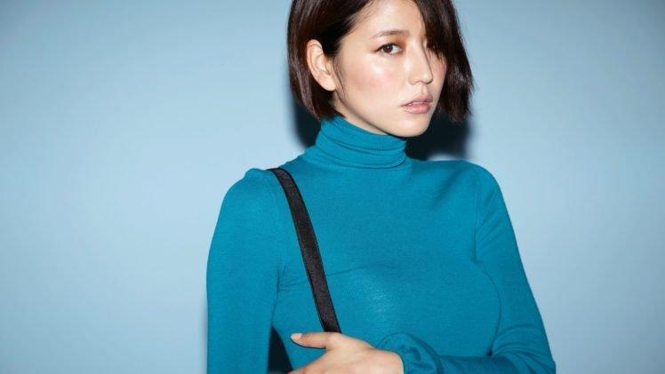 Masami Nagasawa, Blue background, Brunette, Asian, Women, Short hair, Turtlenecks HD Wallpaper Desktop Background