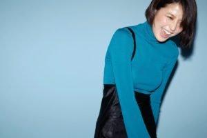 Masami Nagasawa, Laughing, Asian, Women, Blue background, Short hair, Brunette, Turtlenecks