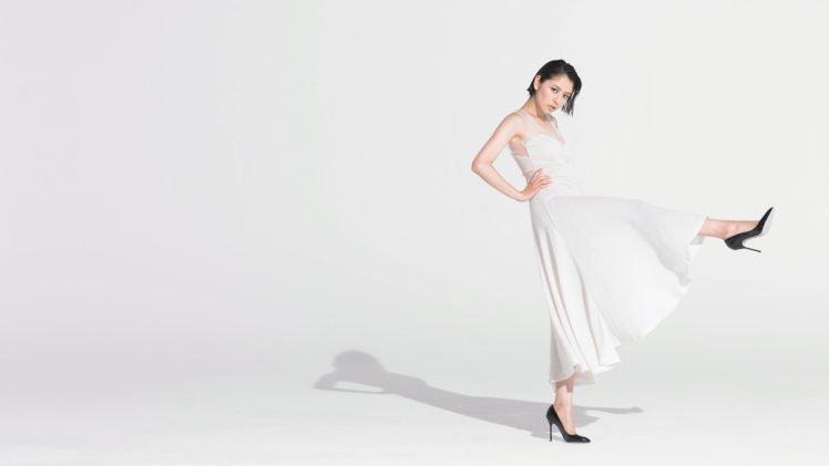 Masami Nagasawa, White dress, Short hair, Simple background, Asian, Women, Hands on hips HD Wallpaper Desktop Background
