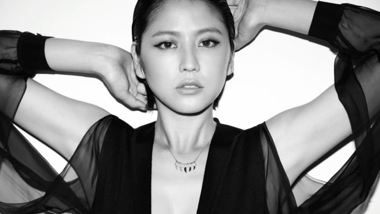 Masami Nagasawa, Arms up, Asian, Necklace, Black clothing, Women HD Wallpaper Desktop Background