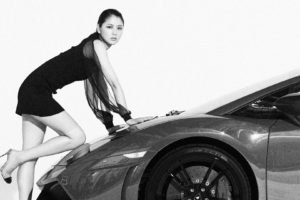 Masami Nagasawa, Car, Women with cars, Women, Asian, Looking at viewer, Black clothing