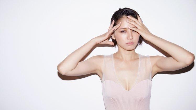 Masami Nagasawa, White background, Short hair, Asian, Women, White tops, Brunette HD Wallpaper Desktop Background