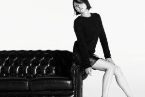 Masami Nagasawa, Couch, Short hair, Asian, Women, Black clothing