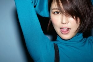 Masami Nagasawa, Arms up, Women, Asian, Tongues, Blue background, Brunette, Turtlenecks