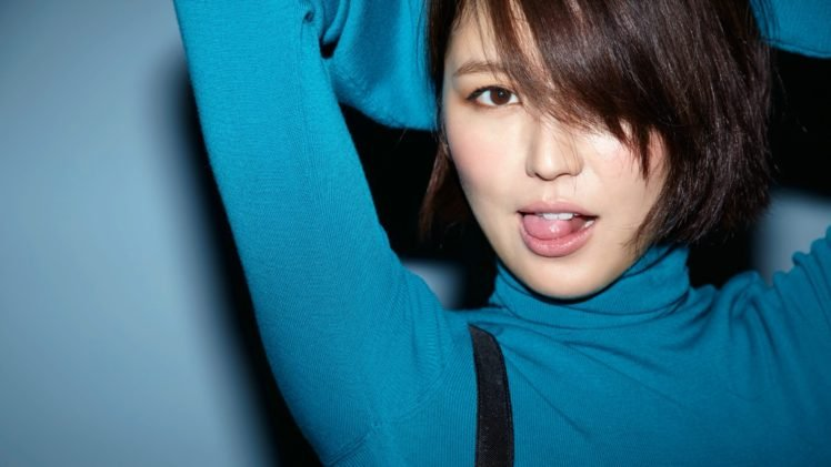Masami Nagasawa, Arms up, Women, Asian, Tongues, Blue background, Brunette, Turtlenecks HD Wallpaper Desktop Background