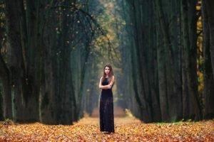 women, Brunette, Fall, Women outdoors, Dress, Trees
