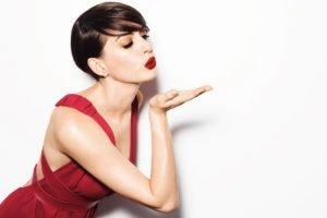 Anne Hathaway, Women, Actress, Brunette, Short hair, Red dress