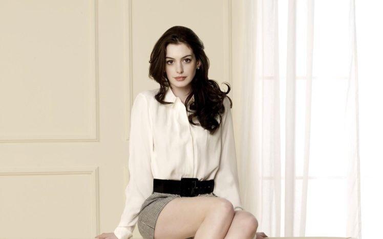 Anne Hathaway, Women, Actress, Brunette, Long hair, Legs, White tops, Curly hair HD Wallpaper Desktop Background