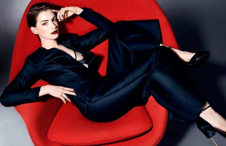 Anne Hathaway, Fashion, Red lipstick, Brunette, Actress, Armchairs, Women HD Wallpaper Desktop Background