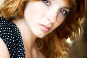 women, Actress, Redhead, Long hair, Vica Kerekes, Eva Kerekesová, Brown eyes, Freckles, Face, Portrait, Cleavage, Dress, Polka dots