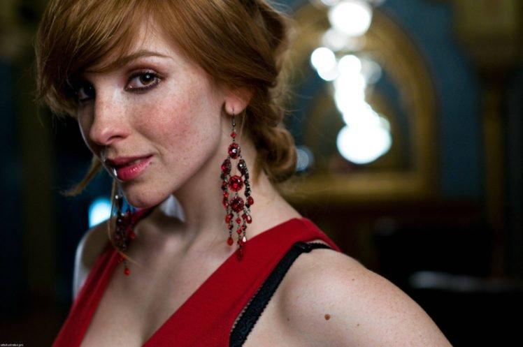 women, Actress, Redhead, Long hair, Vica Kerekes, Eva Kerekesová, Brown eyes, Freckles, Face, Red dress HD Wallpaper Desktop Background
