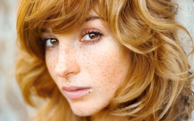 women, Actress, Redhead, Long hair, Vica Kerekes, Eva Kerekesová, Brown eyes, Freckles, Face, Depth of field HD Wallpaper Desktop Background