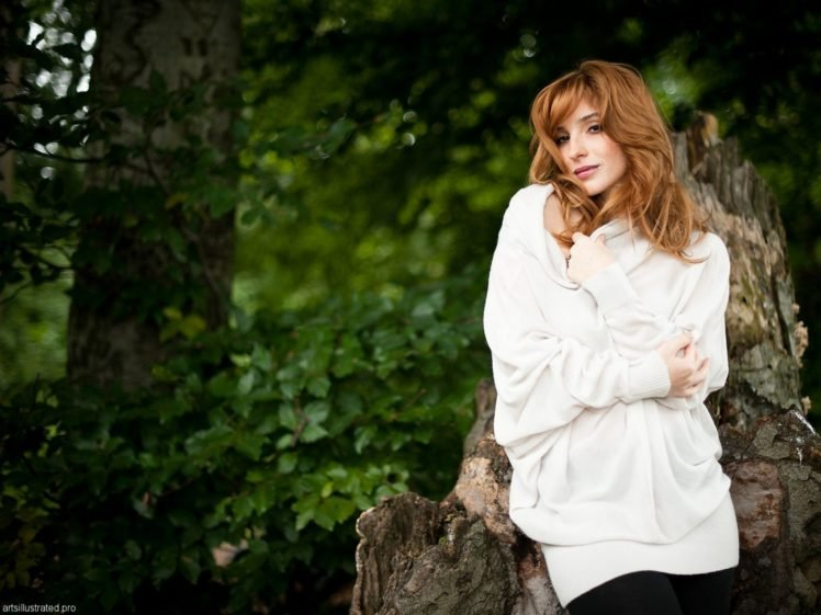 women, Actress, Redhead, Long hair, Vica Kerekes, Brown eyes, Freckles, Sweater, Women outdoors, Trees HD Wallpaper Desktop Background