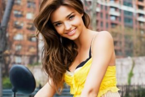 Miranda Kerr, Brunette, Oil painting, Yellow, Yellow clothing, Smiling
