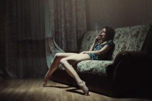 women, Sad, Brunette, Couch, Smoking