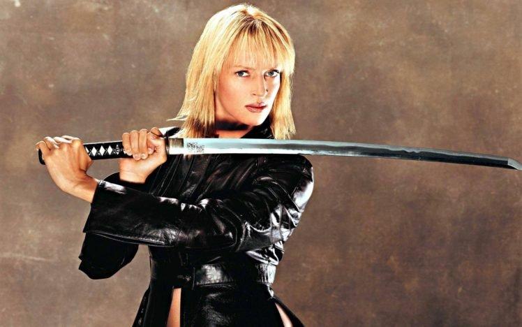 women, Blonde, Actress, Uma Thurman, Blue eyes, Katana, Kill Bill, Leather jackets, Simple background HD Wallpaper Desktop Background