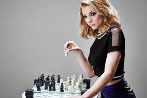 women, Blonde, Actress, Natalie Dormer, Blue eyes, Skirt, Chess, Board games, Dragon, Simple background