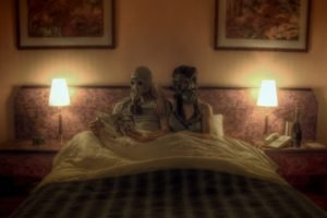 photo manipulation, Couple, Gas masks, Reading, In bed, Lamps, Painting, Sitting, Bedroom