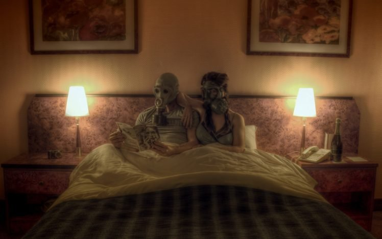 Photo Manipulation Couple Gas Masks Reading In Bed Lamps