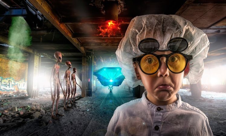 photo manipulation, Face, Glasses, Lab coats, Aliens, Abandoned, Building, Fire, Dust, Bricks, Rooftops HD Wallpaper Desktop Background