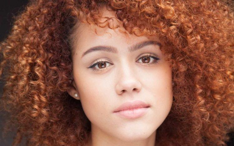 Nathalie Emmanuel, Celebrity, Women, Face, Curly hair, Actress HD Wallpaper Desktop Background