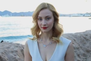 Sarah Gadon, Women, Actress, Blonde, Red lipstick, Blue eyes